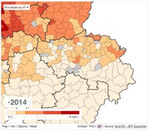 prix moyen des terrains en province de Liege