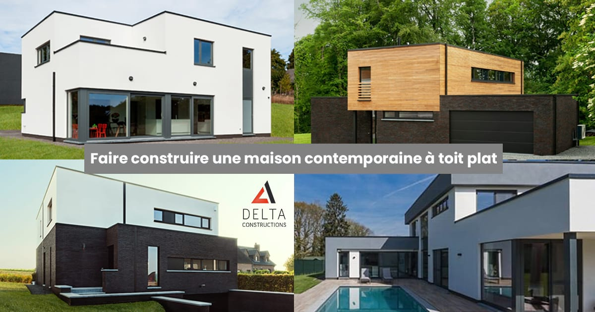 Construction d'une maison contemporaine à toit plat.